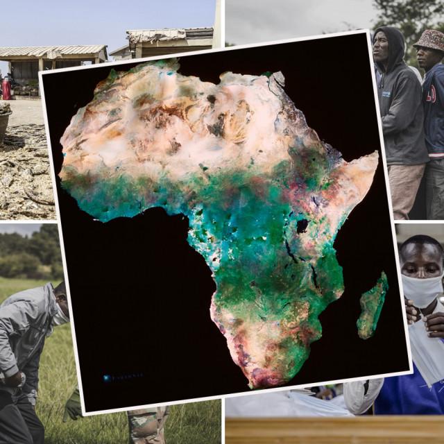Prizori iz Afrike i karta kontinenta
