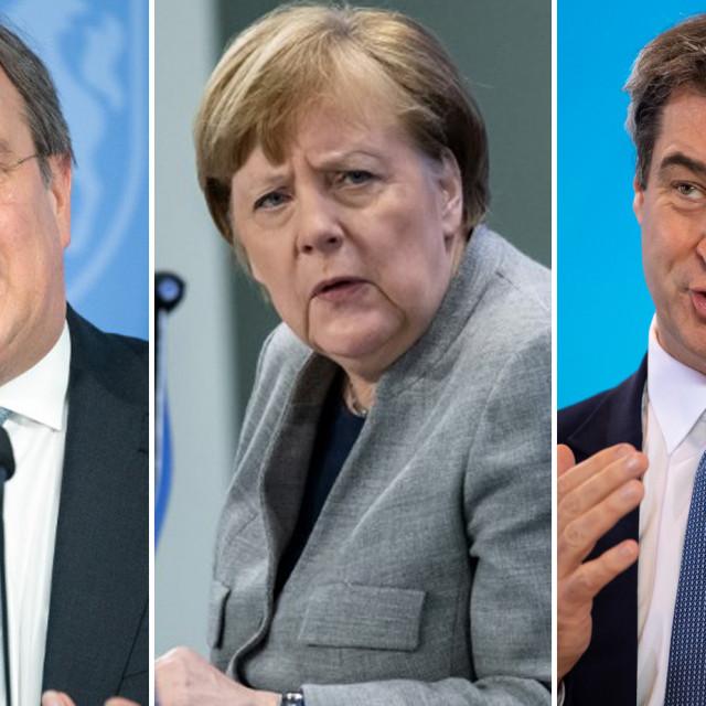 Armin Laschet, Angela Merkel i Markus Soeder