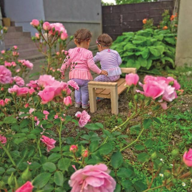 Dvogodišnje blizanke Marta i Klara, koje su tatu nadahnule za izradu dječjeg namještaja.