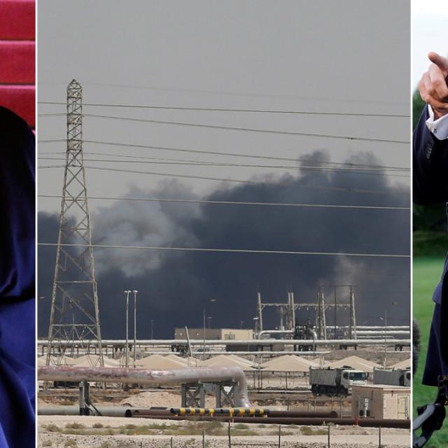 Iranski predsjednik Hassan Rouhani (lijevo), napadnuta saudijska rafinerija (u sredini) i Donald Trump (desno)