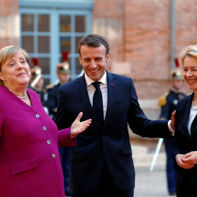 Angela Merkel, Emmanuel Macron i Ursula von der Leyen