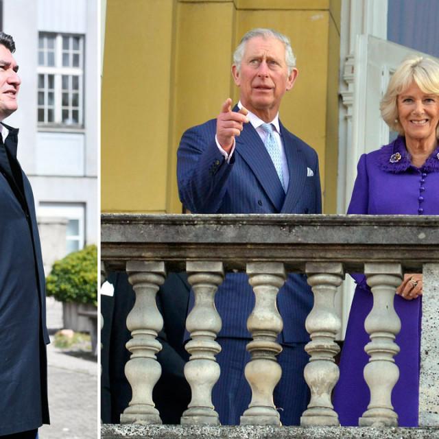 Zoran Milanović (lijevo), princ Charles i supruga Camilla, vojvotkinja od Cornwalla tijekom posjeta Zagrebu 2016. (desno)