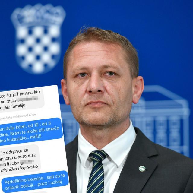 Krešo Beljak i screenshot prijetnji koje je primio preko Facebooka