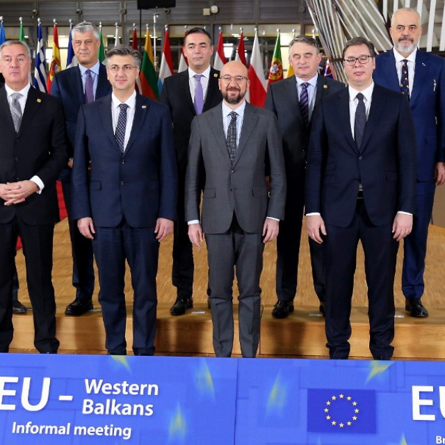 European Commission President Ursula Von der Leyen (R), European Council Charles Michel (front row C), European Parliament President David-Maria Sassoli, Croatian Prime Minister Andrej Plenkovic (2nd L), President of Kosovo Hashim Tachi (rear row 2nd L), Albanian Prime Minister Edi Rama (2nd R), Minister of Foreign Affairs for North Macedonia, Nikola Dimitrov (rear row C), Croat Member of the Presidency of Bosnia and Herzegovina Zeljko Komsic (rear row 3rd R), President of Montenegro Milo Cukanovic (front row L) and Serbian President Aleksandr Vucic (front row R) pose for a photo as they arrive for an EU Western Balkans informal meeting at European Building in Brussels, Belgium on February 16, 2020