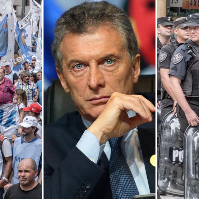 Prosvjed učitelja u Argentini, Mauricio Macri (gospodarstvenik i političar koji je bio predsjednik Argentine od 2015. do 2019.) i argentinska policija