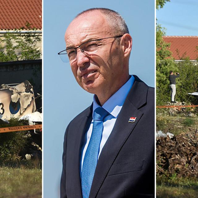 Prizori s mjesta nesreće zrakoplova (lijevo i desno); ministar obrane Damir Krstičević