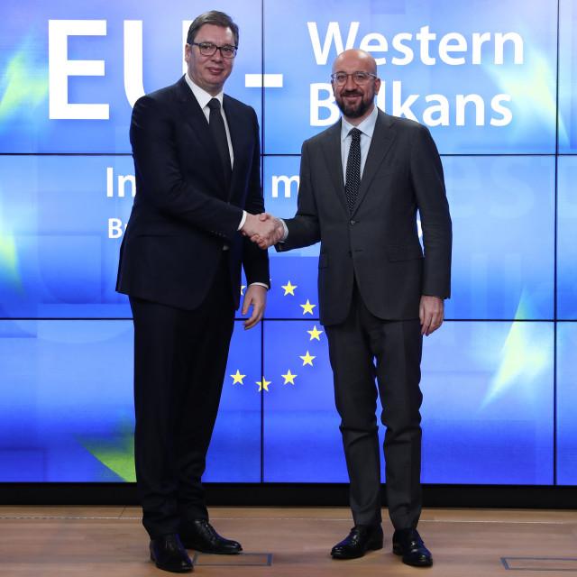 Aleksandar Vučić, predsjednik Srbije i Charles Michel, predsjednik Vijeća EU u Bruxellesu u veljači ove godine