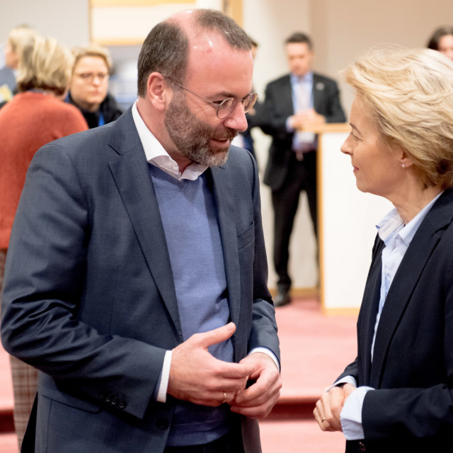Manfred Weber, Leader of the European People's Party in the European Parliament and Ursula von der Leyen, president of European Commission