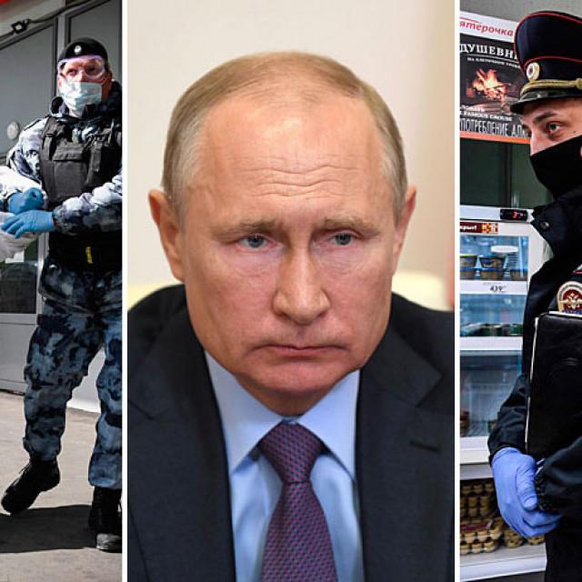 Ruska garda uhićuje muškarca ispred supermarketa u Moskvi (lijevo), Vladimir Putin (u sredini) i ruski policajac (desno)
