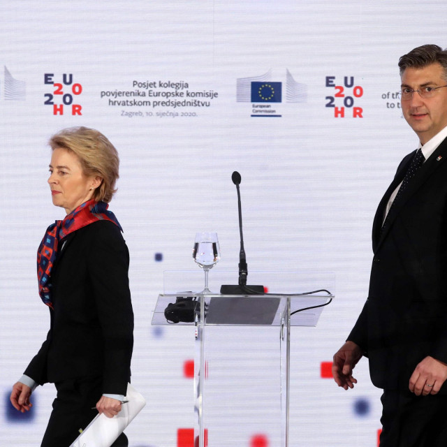 Na slici predsjednica Europske komisije Ursula von der Leyen i premijer Andrej Plenković