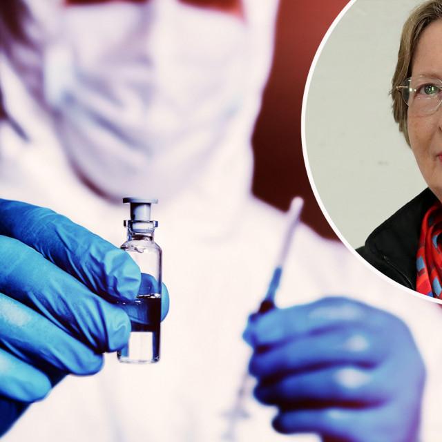Ilustracija cjepiva i Alemka Markotić
