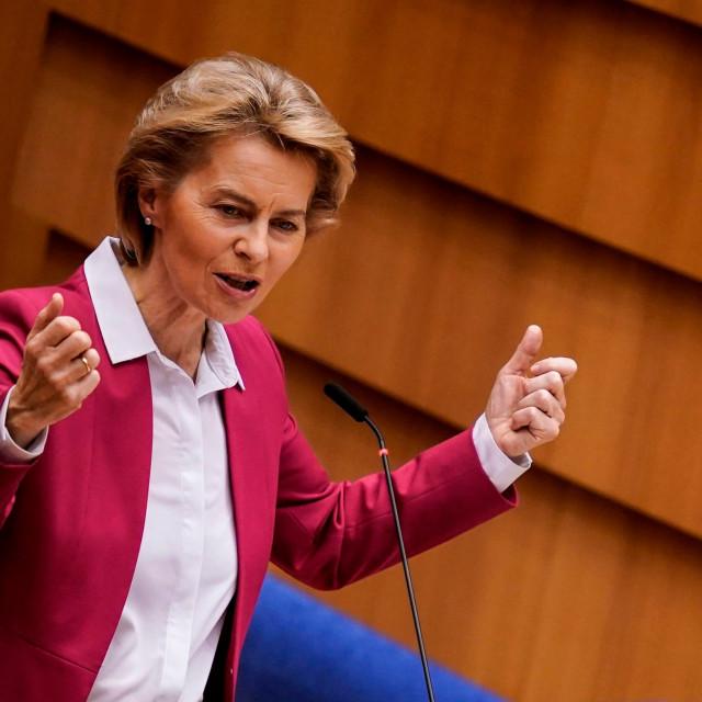 Šefica Europske komisije Ursula von der Leyen na današnjoj izvanrednoj sjednici Parlamenta EU