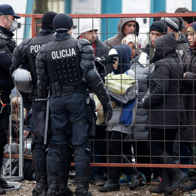 Border crossing between Croatia and Slovenia, Harmica-Rigonce. On the photo: migrants in the overcrowded camp in Dobova