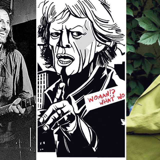 Branimir Štulić (lijevo), Mick Jagger na ilustraciji Davora Schunka (u sredini) i Boris Leiner (desno)