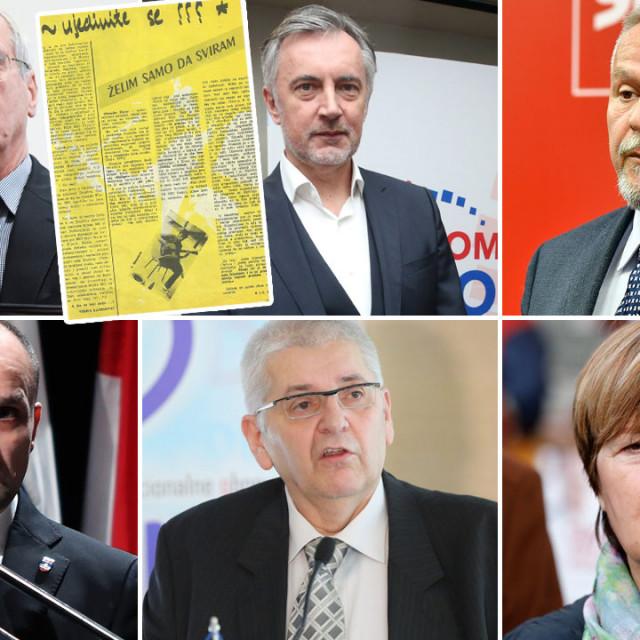 Andrija Hebrang (gore lijevo), Ivan Anušić (dolje lijevo), Miroslav Škoro (gore u sredini), Anto Đapić (dolje u sredini), Davorko Vidović (gore desno), Ruža Tomašić (dolje desno)