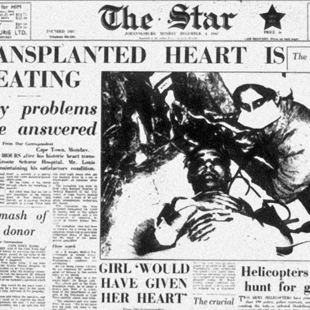 Naslovnica južnoafričkih novina The Star izvjestila je o prvoj uspješnoj transplantaciji srca