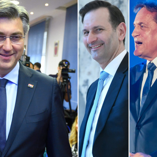 Plenkovic confirmed that Miro Kovac, Bozidar Kalmeta and Stevo Culej (from left to right on the photo), who had opposed him at the last party election, were included at the bottom of the lists for their respective constituencies in order to show inclusiveness