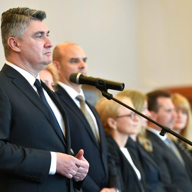 President Zoran Milanovic addressingheads of diplomatic missions in Croatia in his office