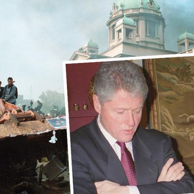 Prizor ispred Skupštine u Beogradu na dan izbora 5. listopada 2000 te Bill Clinton i Slobodan Milošević