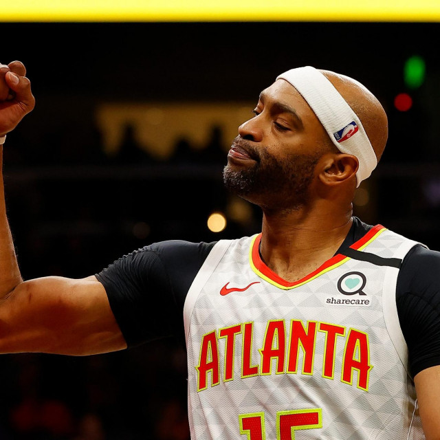 (FILES) In this file photo taken on March 2, 2020 Vince Carter #15 of the Atlanta Hawks reacts in the second half against the Memphis Grizzlies at State Farm Arena in Atlanta, Georgia. - NOTE TO USER: User expressly acknowledges and agrees that, by downloading and/or using this photograph, user is consenting to the terms and conditions of the Getty Images License Agreement. (Photo by Kevin C. Cox/GETTY IMAGES NORTH AMERICA/AFP)