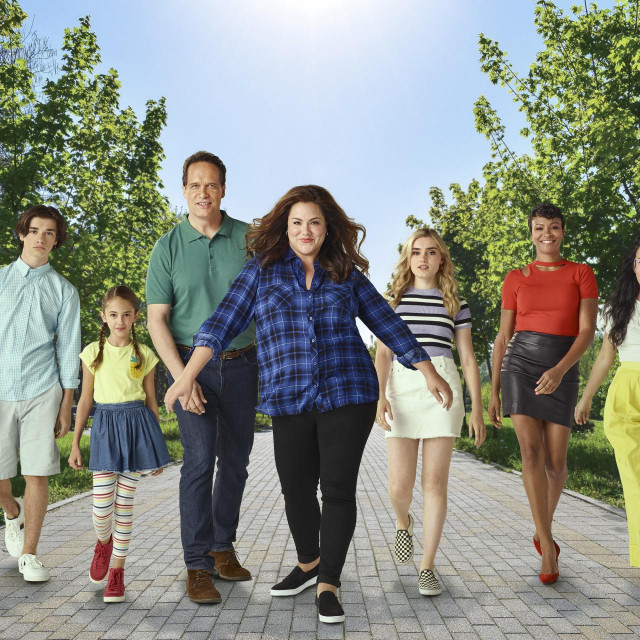 "AMERICAN HOUSEWIFE - ABC's ""American Housewife"" stars Daniel DiMaggio as Oliver Otto, Julia Butters as Anna-Kat Otto, Diedrich Bader as Greg Otto, Katy Mixon as Katie Otto, Meg Donnelly as Taylor Otto, Carly Hughes as Angela, and Ali Wong as Doris. (ABC/Brian Bowen Smith)"