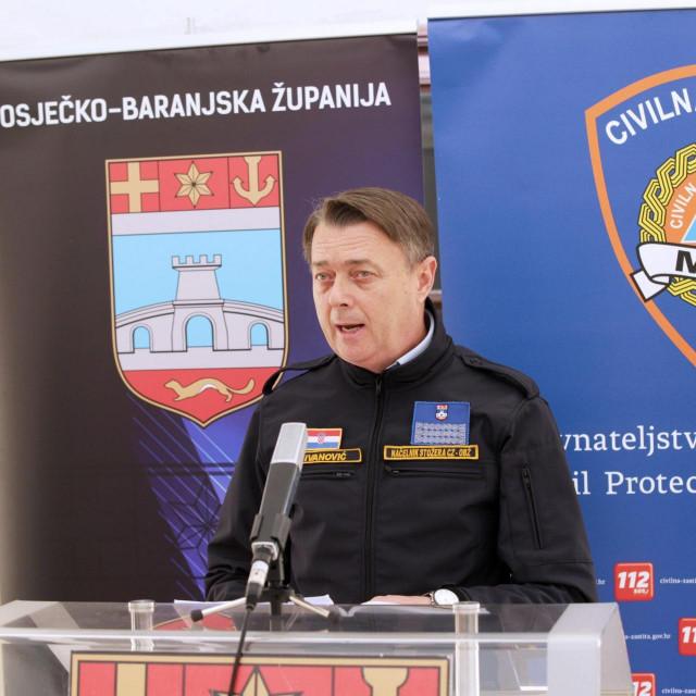 Osijek, 270320<br /> Konferencija za medije Stozera za civilnu zastitu OBZ-a.<br /> Na fotografiji: Goran Ivanovic dozupan osjecko baranjski.<br />