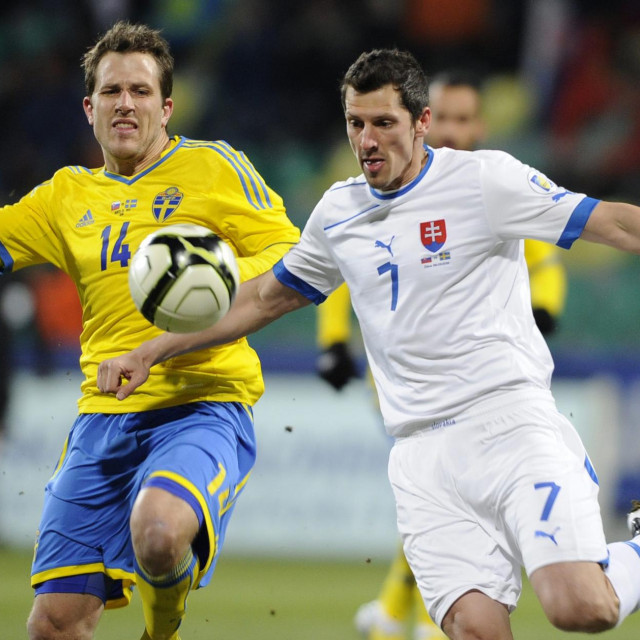 Marian Čisovsky (desno) snimljen 2013. u dresu Slovačke na utakmici protiv Švedske