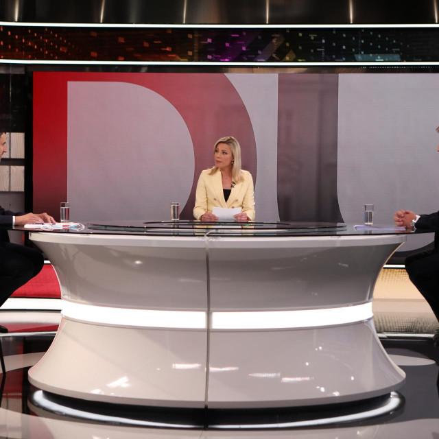 Davor Bernardić i Andrej Plenković tijekom sučeljavanja na RTL televiziji