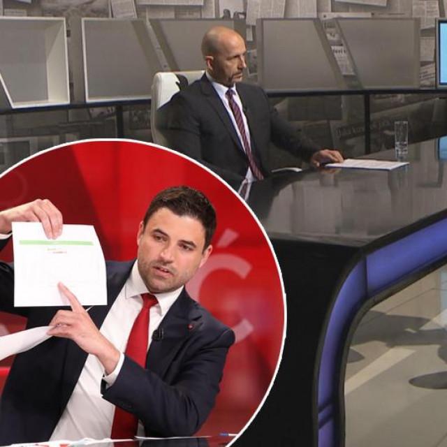 Prizor iz emisije Nedjeljom u 2 u kojoj je gostovao Andrej Plenković; u krugu: Davor Bernardić tijekom sučeljavanja s Andrejem Plenkovićem na RTL televiziji