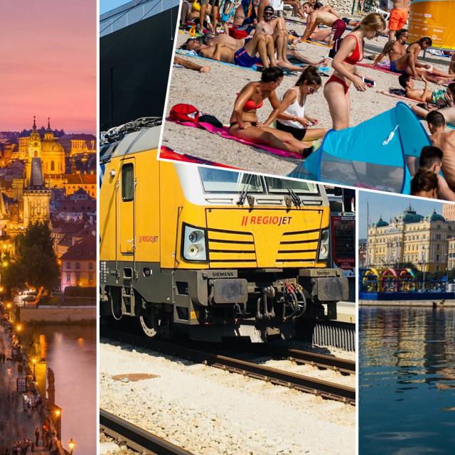 Prag, vlak RegioJeta, Rijeka i ilustracija plaže