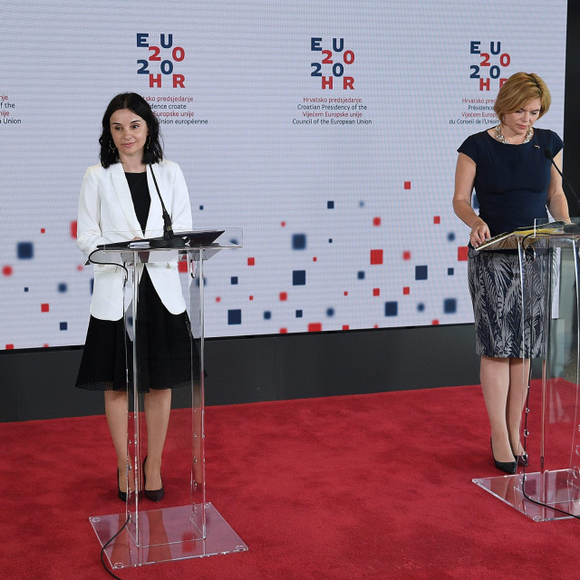 Agriculture minister Marija Vuckovic and her German counterpart Julia Klöckner during the press conference after the last AGRIFISH meeting during Croatia presidency