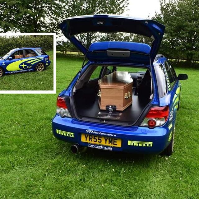 Subaru Impreza funeral car