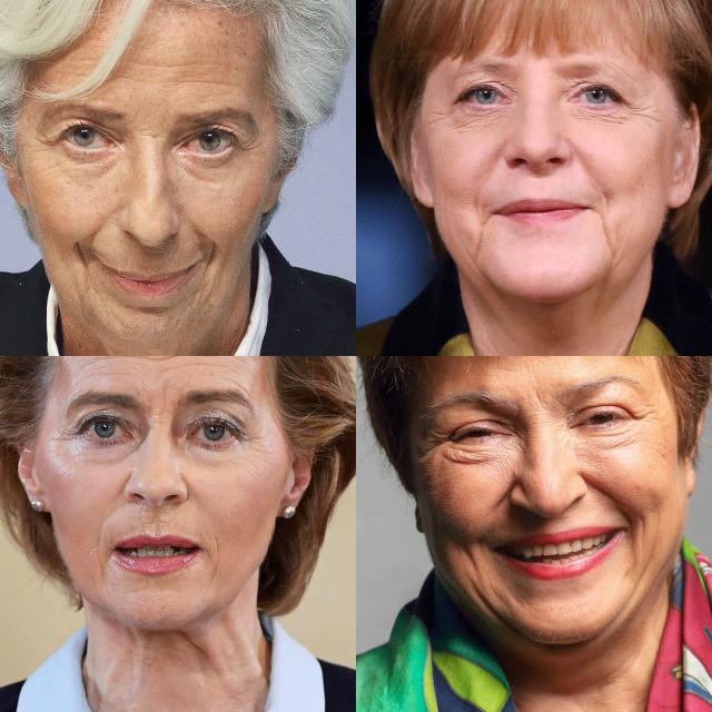 Christine Lagarde, Angela Merkel, Ursula Von der Leyen i Kristalina Georgijeva