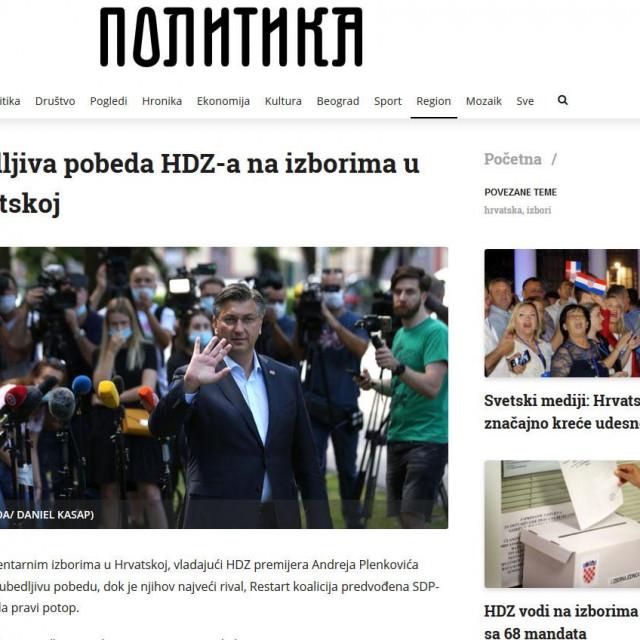 'Politika' navodi da je, uz uvjerljivu pobjedu HDZ-a 'njihov najveći rival, Restart koalicija predvođena SDP-om, doživjela pravi potop'