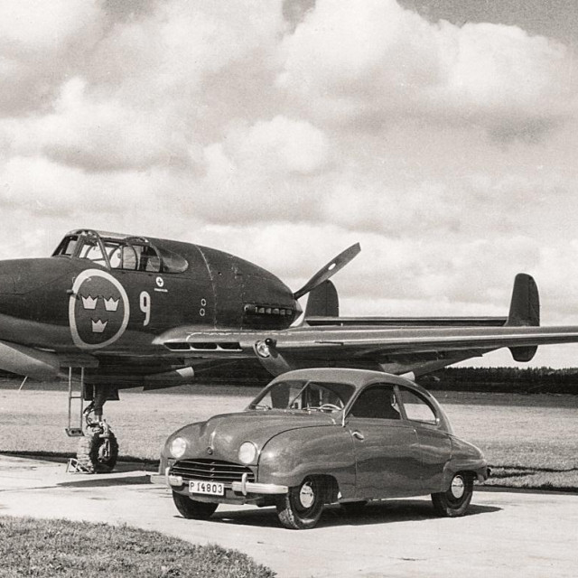 1949 Saab 92 with Saab 21 Jet Fighter plane