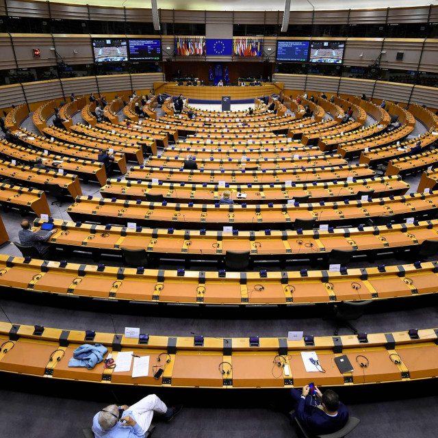 A picture taken on June 17, 2020, 2020 shows a view of the European Parliament in Brussels during a plenary session. (Photo by JOHN THYS/AFP)