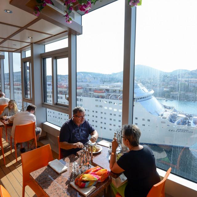 Italian cruise ship Costa DIadema seen in Dubrovnik in the summer of 2019