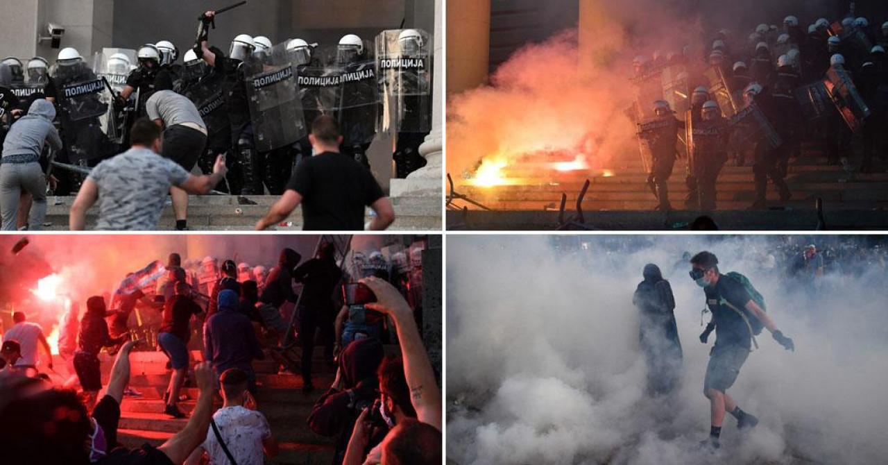 (VIDEO) NEREDI U BEOGRADU I NOVOM SADU! Policija krenula u razbijanje demonstracija nakon žestokog sukoba ispred Skupštine Srbije, stigla i oklopna vozila žandarmerije!
