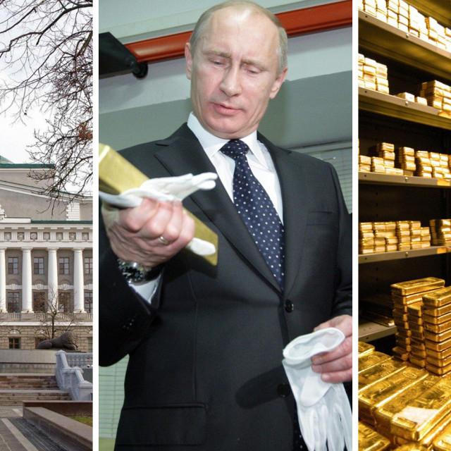 Središnja banka Rusije, Vladimir Putin i ilustracija trezora punog zlata