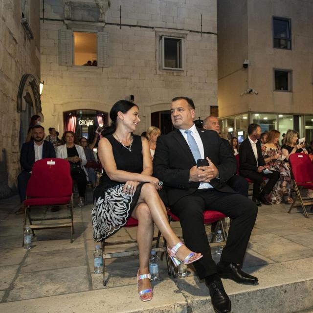 Split, 14072020.<br /> Svecano otvaranje 66. Splitskog ljeta.<br /> Na fotografiji:Ministar zdravstva Vili Beros sa suprugom Jasminkom.<br />
