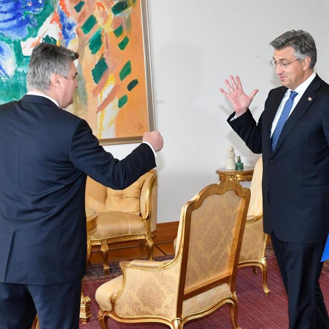 Zoran Milanović i Andrej Plenković tijekom susreta na Pantovčaku