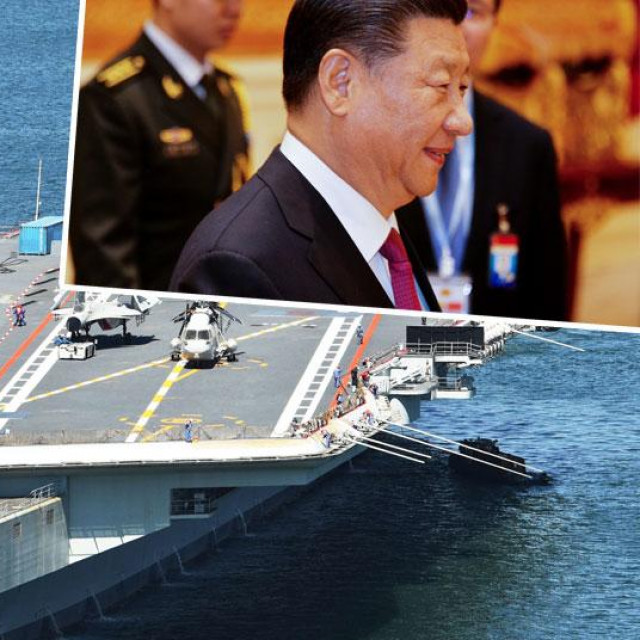 Kineski nosač aviona (glavna fotografija), Xi Jinping (gore desno)