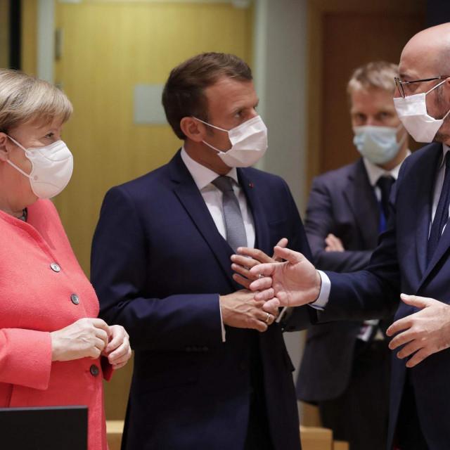Angela Merkel, Emmanuel Macron, Charles Michel