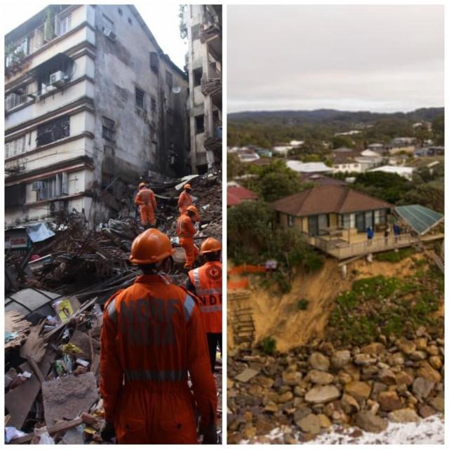 Mumbai rušenje višekatnice (lijevo), Australija, erozija tla (desno)