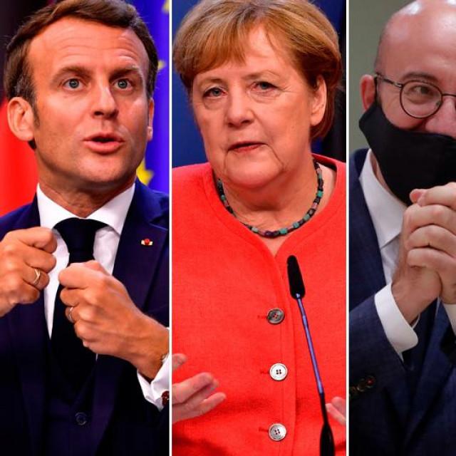 Emmanuel Macron, Angela Merkel, Charles Michel, Ursula von der Leyen i Mark Rutte