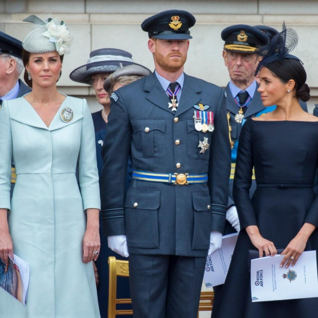 26 July 2020.<br /> <br /> Catherine, Duchess of Cambridge and Meghan Markle never became friends and the Duchess of Sussex was upset' she never reached out to her or visited, according to an explosive new biography, 'Finding Freedom'.<br /> <br /> Here STOCK IMAGE:<br /> Kate and Meghan (with Prince harry in the 'middle') attend The Flypast to Commemorate the 100th Anniversary of the RAF on Tuesday 10th July 2018 at Buckingham Palace,Image: 547200194, License: Rights-managed, Restrictions:, Model Release: no, Credit line: GoffPhotos.com/Goff Photos/Profimedia
