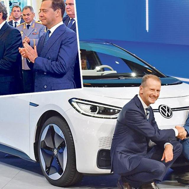 Glavni izvršni direktor koncerna Volkswagen Herbert Diess na sajmu u Frankfurtu 2019. (na glavnoj fotografiji); bivši kancelar Gerhard Schröder ima prijateljske odnose s Putinom (gore lijevo)