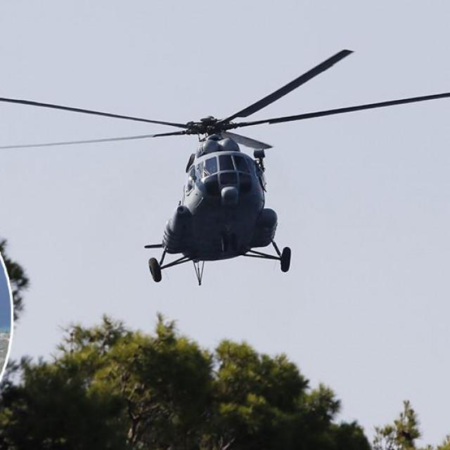 Helikopter HV MI8; u krugu: strani državljanin za kojim se traga