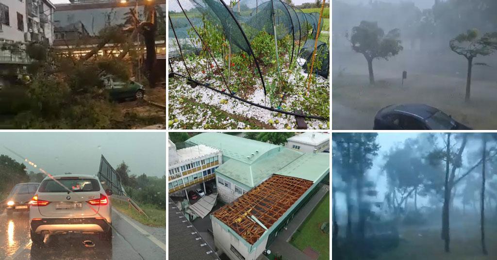 (FOTO/VIDEO) OLUJA U HRVATSKOJ! Silovito nevrijeme: Umagom kao da je prošao uragan, u Dugoj Resi vjetar odnio krov vijećnice…