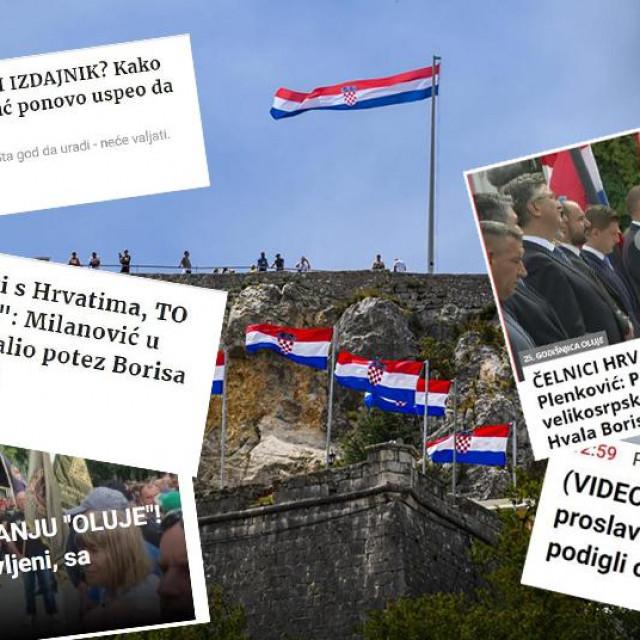 Obilježavanje 25. obljetnice Oluje u Kninu; s desne i lijeve strane: Naslovi u srpskim medijima povodom 25. godišnjice Oluje
